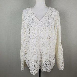 WHBM Long Sleeve All Over Lace V Neck Top